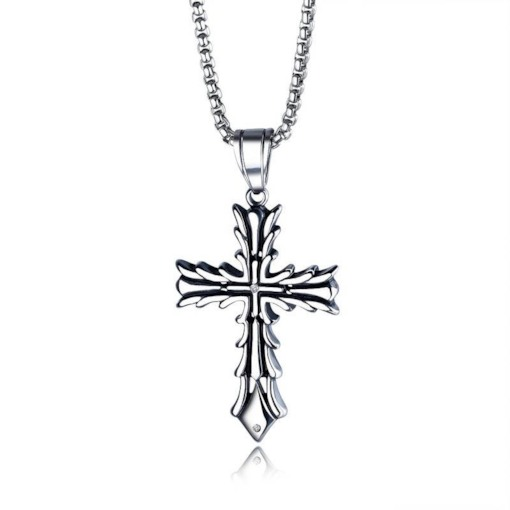 Vintage Cross Shape Titanium Steel Pendant Necklace