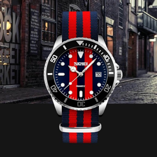 Multiple Time Zone Canvas Strap Quartz Men's Watch