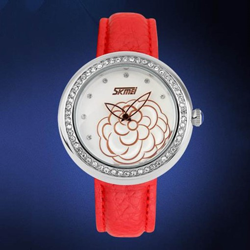 Gem Decorated Women PU Leather Quartz Wristwatch