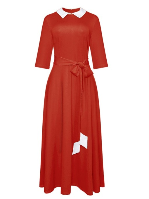 Half Sleeve Pleated Lapel Color Block Women's Maxi Dress