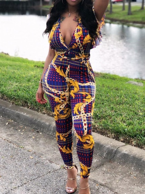 Floral Full Length Print Loose Women's Jumpsuit