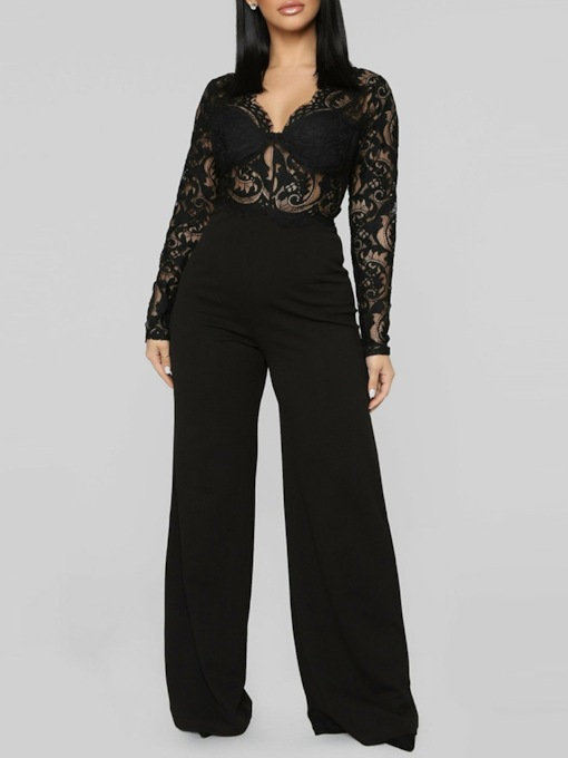 Full Length Lace Fashion Plain Wide Legs Women's Jumpsuit