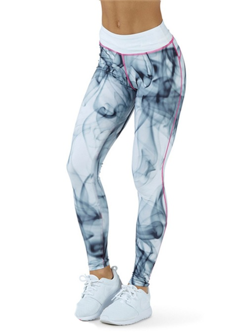 Color Block Breathable Print Sports Casual Leggings