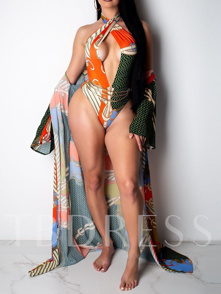 Color Block One Piece Sexy Print Women's Swimwear