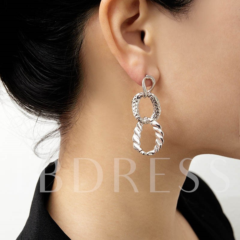 Unique Irregular Shape Round Ring Stud Earrings