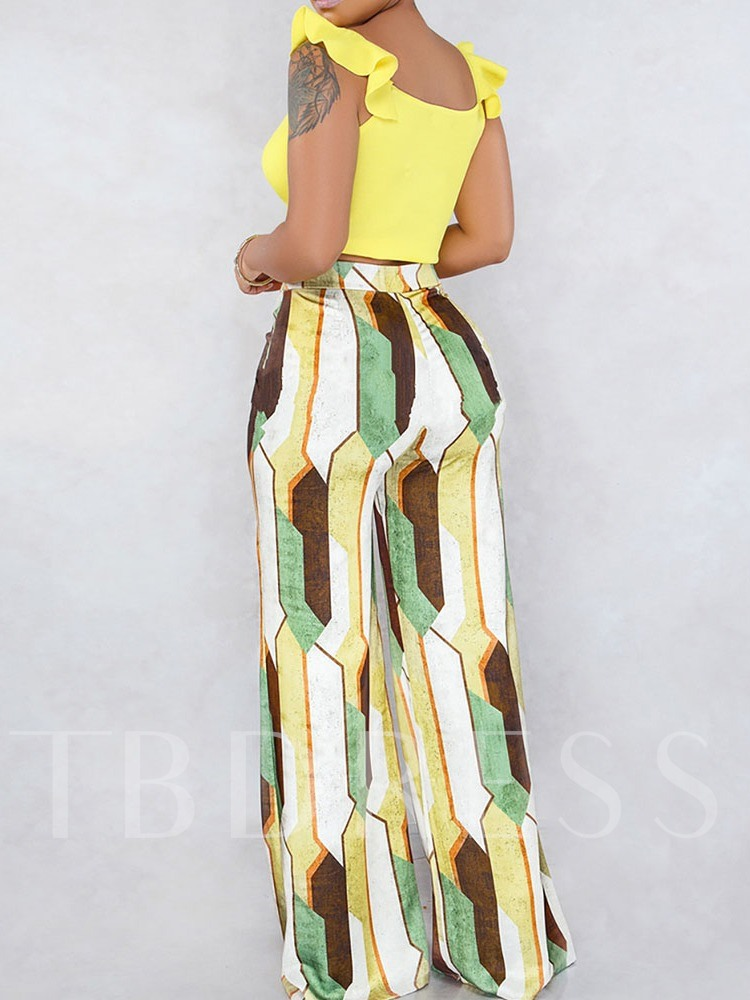 Pants Print Geometric Wide Legs Women's Two Piece Sets