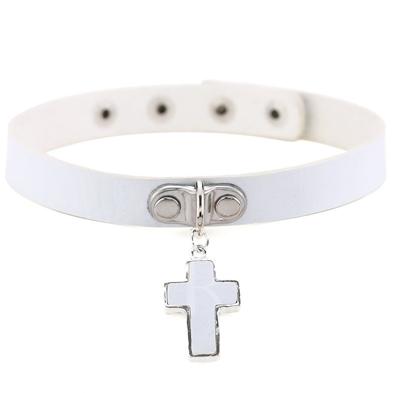Cross Shape PU Torques Choker Necklace