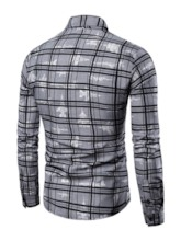 Casual Print Lapel Plaid Single-Breasted Men's Shirt