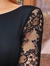 Patchwork Long Sleeve Round Neck Bodycon Women's Lace Dress