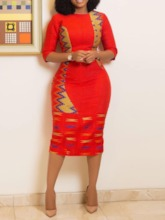 African Fashion Half Sleeve Print Round Neck Geometric Women's Sheath Dress
