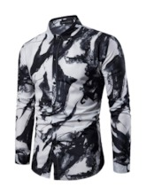 Lapel Print Casual Slim Men's Shirt