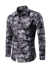 Floral Casual Print Lapel Men's Shirt