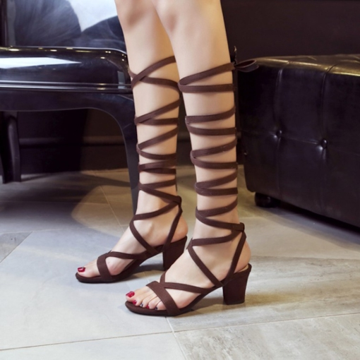 Open Toe Lace-Up Chunky Heel Roman Sandals