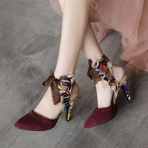 Stiletto Heel Lace-Up Pointed Toe Vintage Suede Sandals
