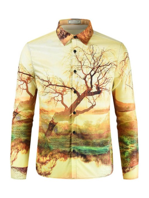 Casual Print Lapel Long Sleeves Men's Shirt