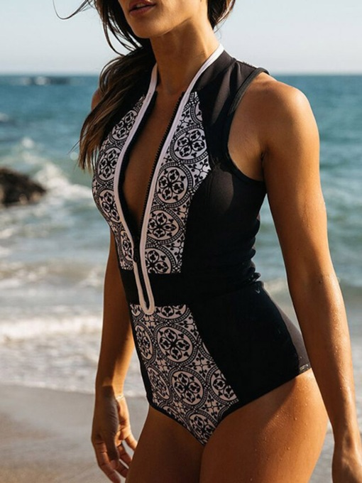 Western Print Geometric One Piece Women's Swimwear