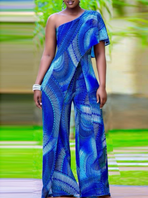 African Fashion Backless Full Length Western Slim Women's Jumpsuit