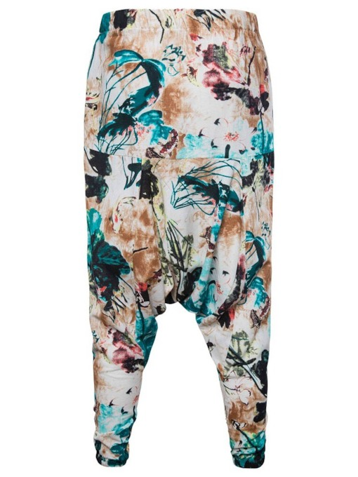 Print Baggy Pants Floral Korean Men's Casual Pants