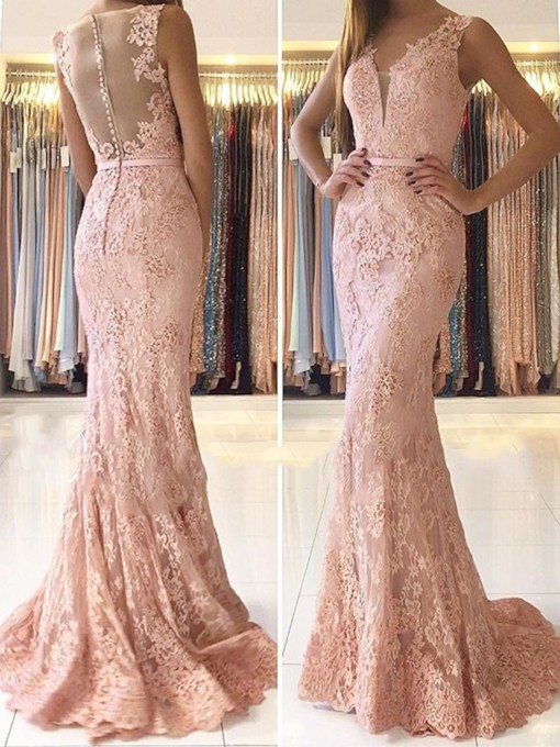 Appliques Floor-Length Sweep Train Mermaid Evening Dress 2019