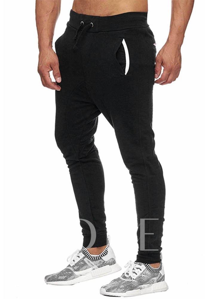 Mid Waist Color Block Patchwork Men's Casual Pants