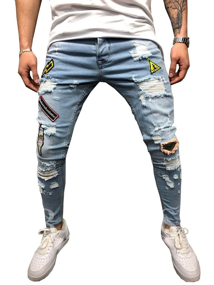 Hole Zipper Men's Jeans
