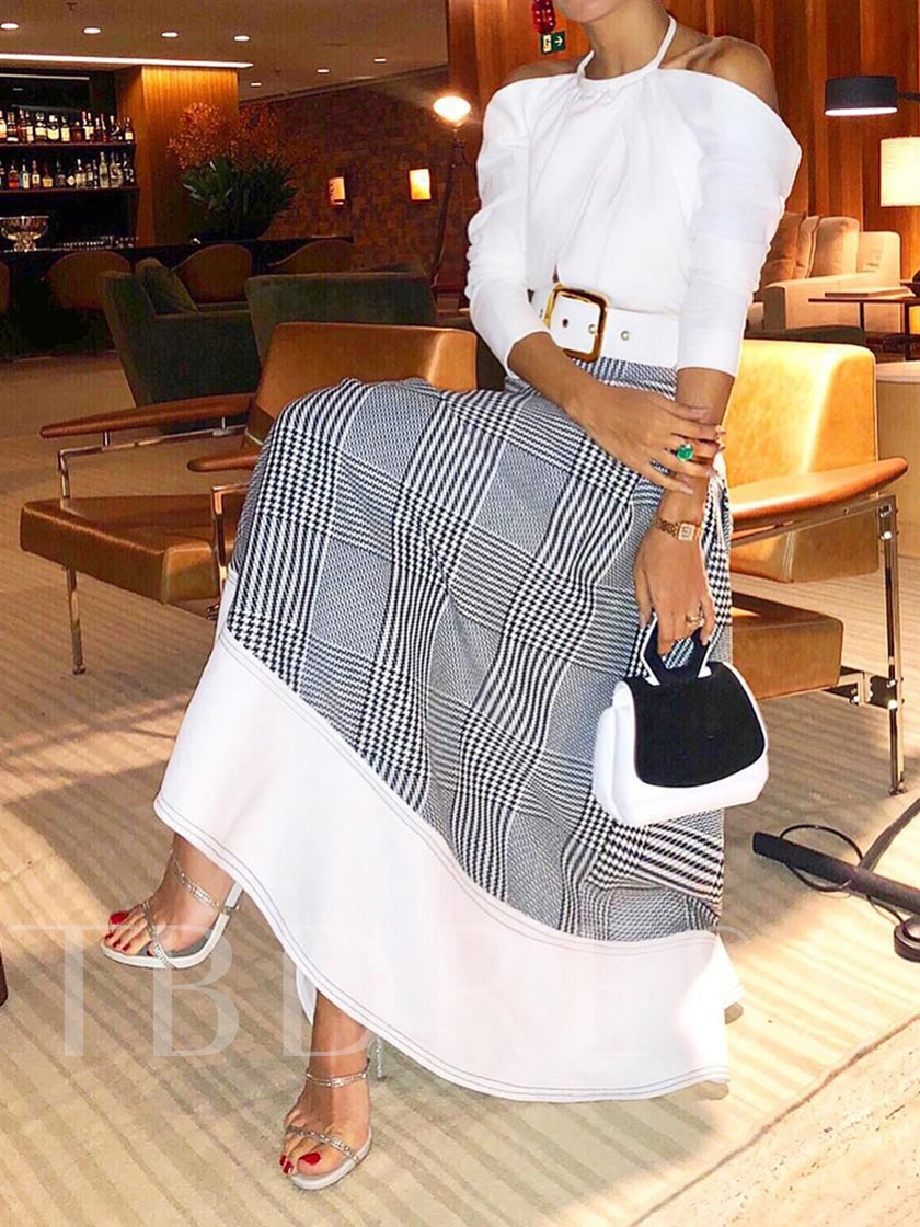Expansion Ankle-Length Patchwork Plaid Date Night Women's Skirt