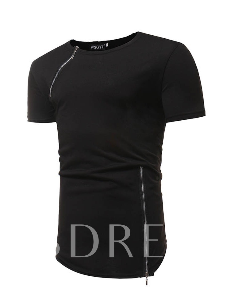 Casual Round Neck Plain Zipper Short Sleeve Men's T-shirt