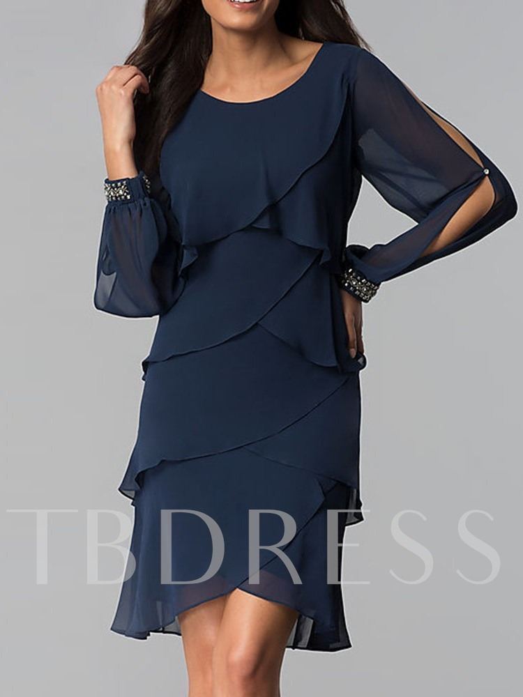 Round Neck Long Sleeve Patchwork Women's Day Dress
