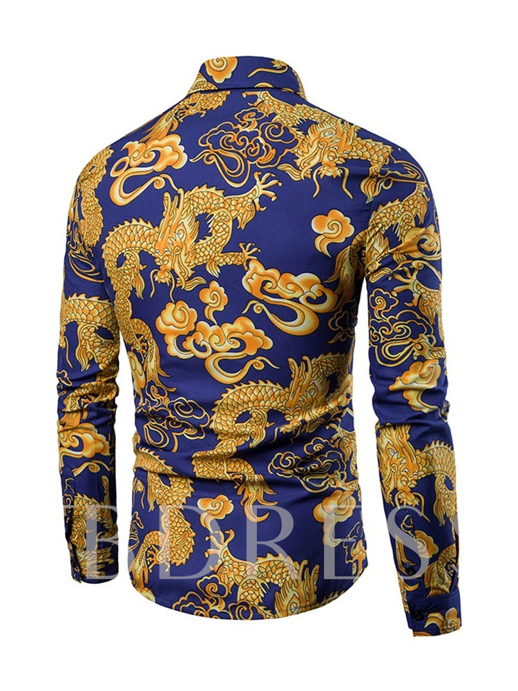 African Fashion Casual Long Sleeves Print Lapel Men's Shirt