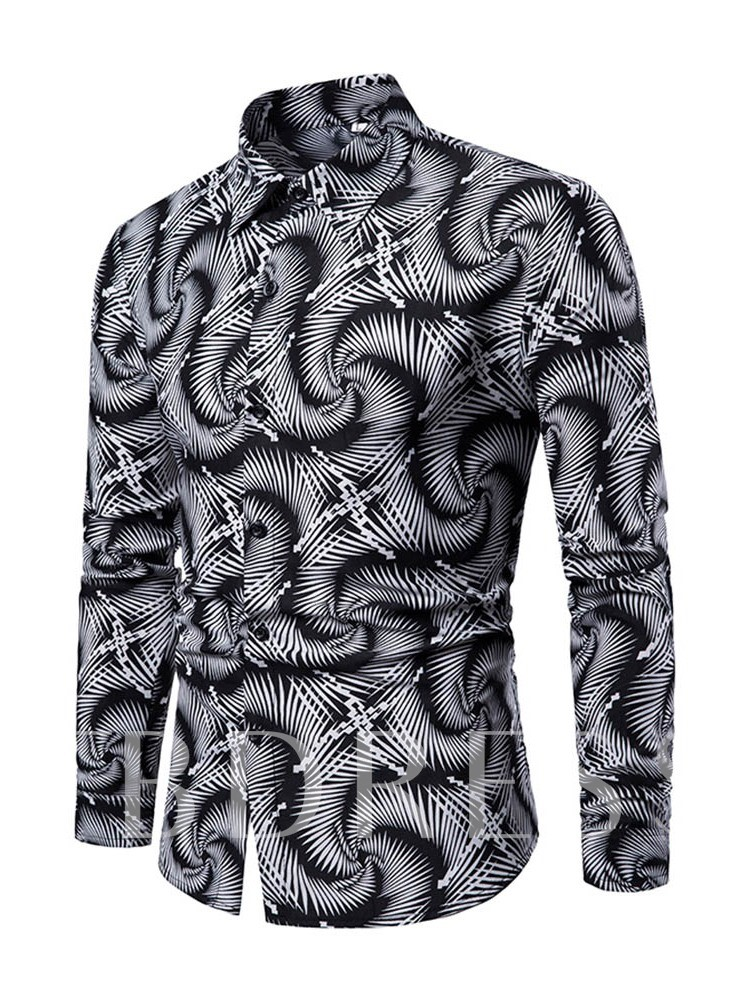 Print Lapel Fashion Single-Breasted Men's Shirt