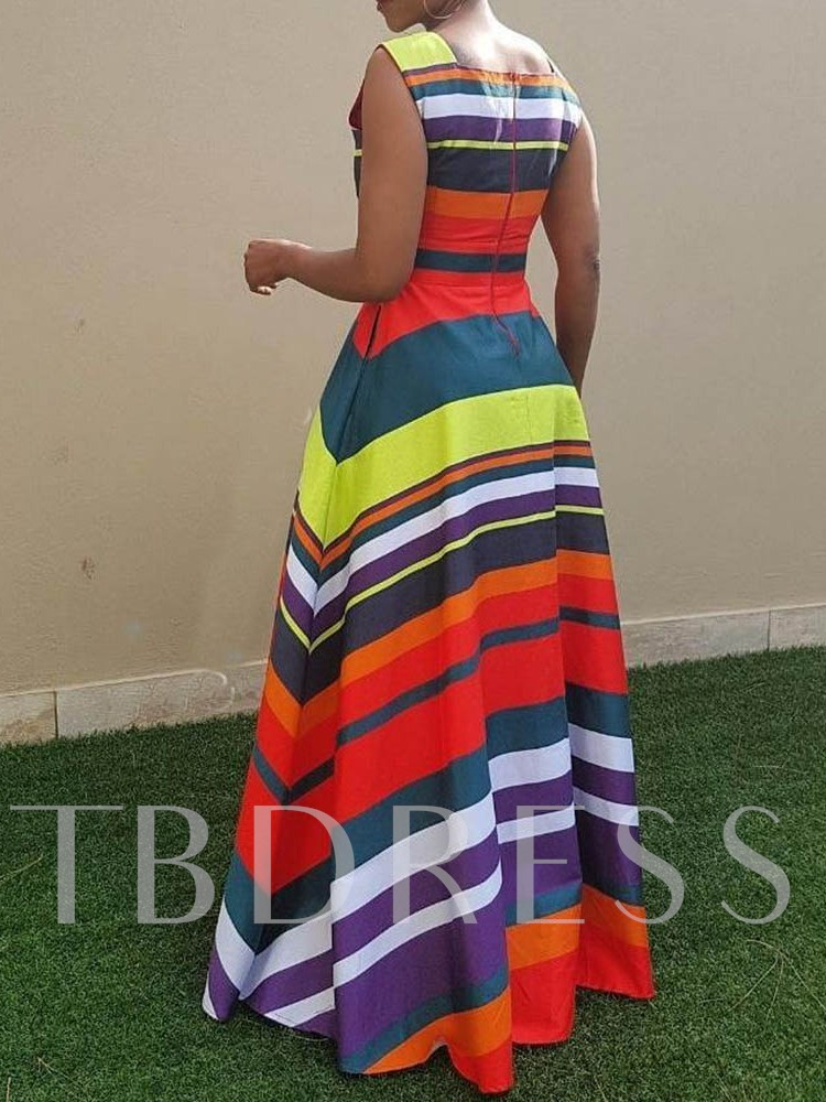 Sleeveless Color Block Stripe Pullover Women's Maxi Dress