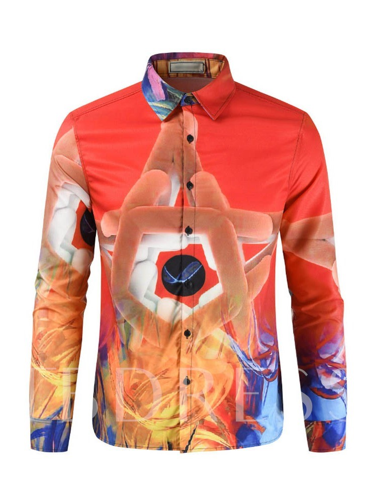 Casual Lapel Print Single-Breasted Men's Shirt