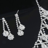 Korean Rhinestone Earrings Necklace Jewelry Sets (Wedding)