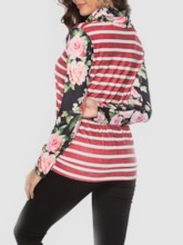Mid-Length Floral Long Sleeve Casual Women's T-Shirt