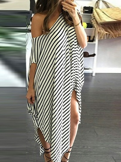 Oblique Collar Asymmetric Half Sleeve Stripe Womens Maxi Dress Oblique Collar Asymmetric Half Sleeve Stripe Women's Maxi Dress