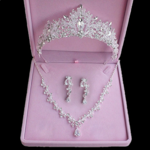 Gemmed Necklace Tiara Earrings Wedding Jewelry Sets