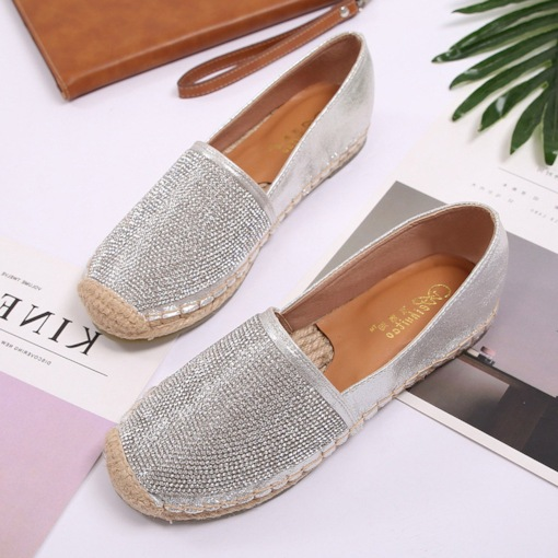 Slip-On Rhinestone Block Heel Round Toe Women's Flats