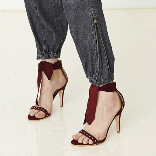 Open Toe Lace-Up Stiletto Heel Heel Covering Bow Rivet Sandals