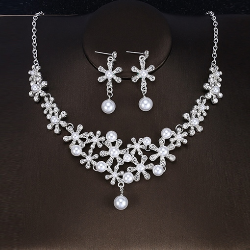 Korean Floral Pearl E-Plating Wedding Jewelry Sets
