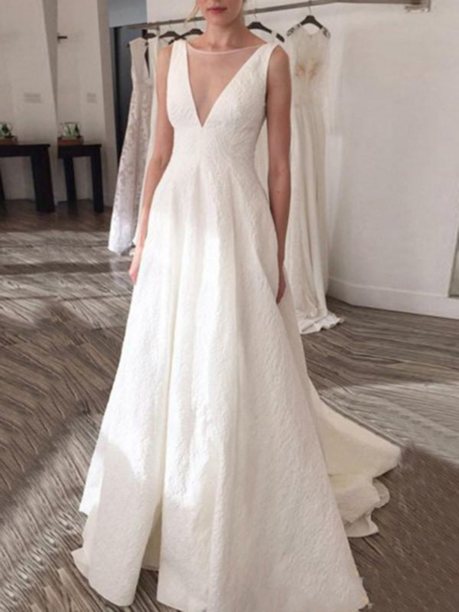 A-Line Sheer Bateau Neck Lace Wedding Dress 2019