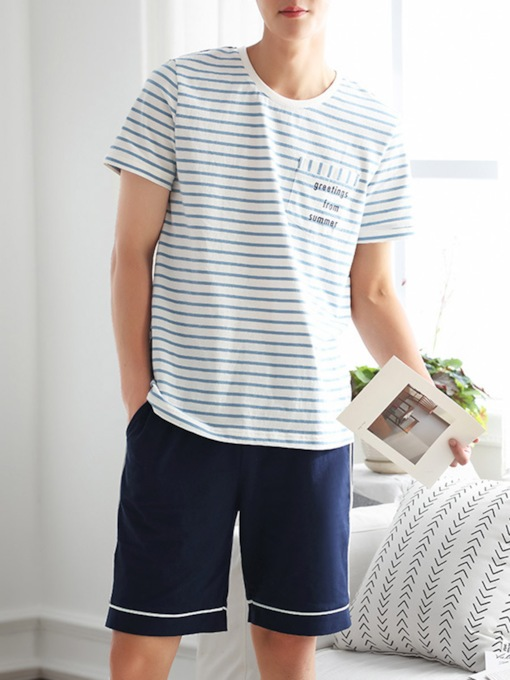 Men's Sleepwear Letter Stripe Short Pajamas Set