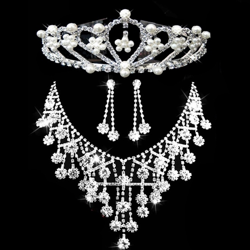 Tiara Earrings Necklace E-Plating Wedding Jewelry Sets