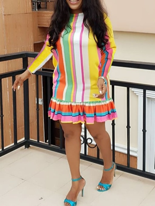 Pleated Round Neck Patchwork Women's Long Sleeve Dress