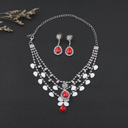 Red Rhinestone Earrings European Wedding Jewelry Sets