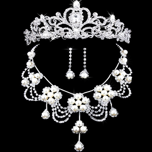 Floral Tiara Necklace Earrings Pearls Wedding Jewelry Sets