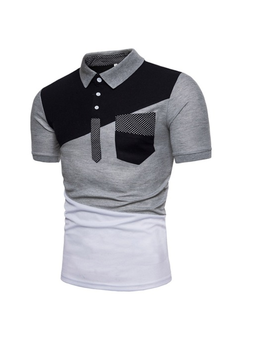Color Block Pocket Polo Neck Casual Men's Polo Shirt
