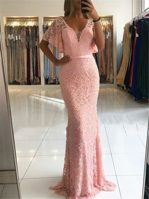 Short Sleeves Trumpet V-Neck Floor-Length Evening Dress 2019