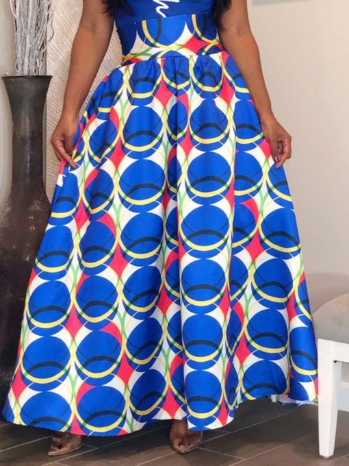 Floor-Length Expansion Print Geometric Fashion Women's Skirt