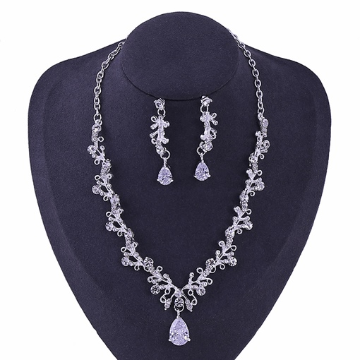 Necklace Earrings Floral Korean Wedding Jewelry Sets