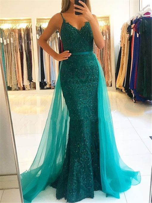 Appliques Trumpet Spaghetti Straps Floor-Length Evening Dress 2019